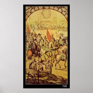 The encounter between Hernando Cortes Poster
