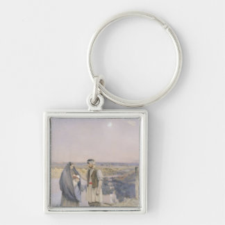 The End of the Day, 1888 Silver-Colored Square Keychain
