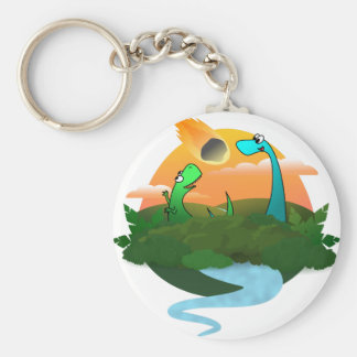 The end of the dinosaurs basic round button keychain