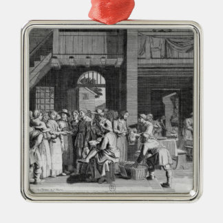 The Engagement Silver-Colored Square Ornament