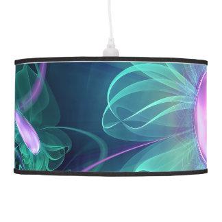 The Enigma Bloom, an Aqua-Violet Fractal Flower Pendant Lamp