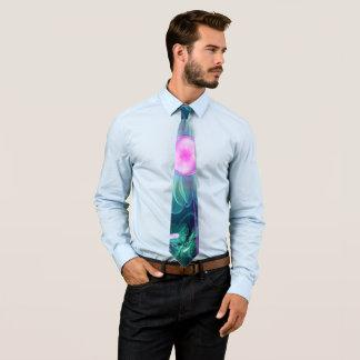 The Enigma Bloom, an Aqua-Violet Fractal Flower Tie