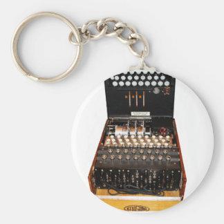 The enigma machine, vintage military messaging basic round button keychain