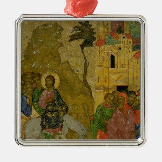 The Entry into Jerusalem, Russian icon Silver-Colored Square Ornament