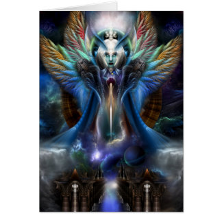 The Eternal Majesty Of Thera Fractal Portrait Card