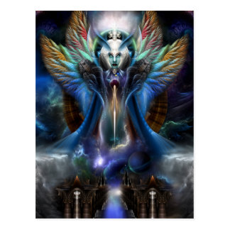 The Eternal Majesty Of Thera Fractal Portrait Postcard