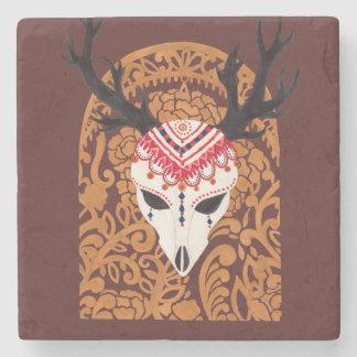 The Ethnic Deer Head Stone Beverage Coaster