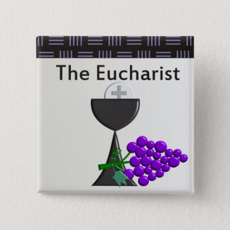 The Eucharist Chalice and Grapes Design 2 Inch Square Button