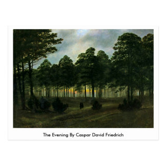 The Evening By Caspar David Friedrich Postcard