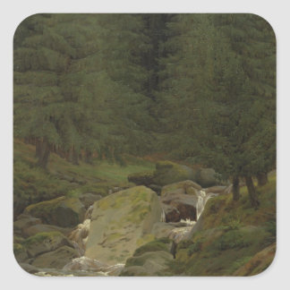 The Evergreens by the Waterfall Square Sticker