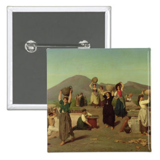 The Excavations at Pompeii, 1865 2 Inch Square Button