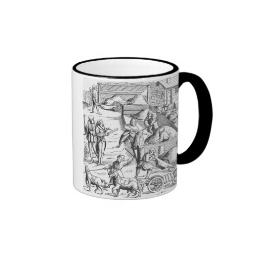 The extraction of metals, after a woodcut in 'Cosm Coffee Mug