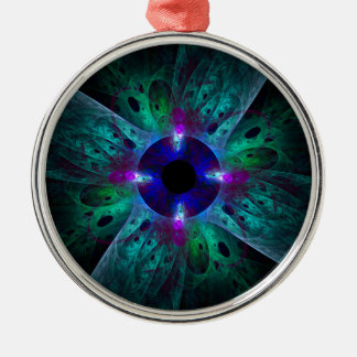 The Eye Abstract Art Round Metal Ornament