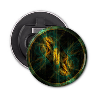 The Eye of the Jungle Abstract Art Button Bottle Opener