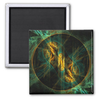 The Eye of the Jungle Abstract Art Square Magnet