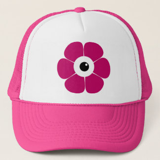 the eye of the pink flower trucker hat