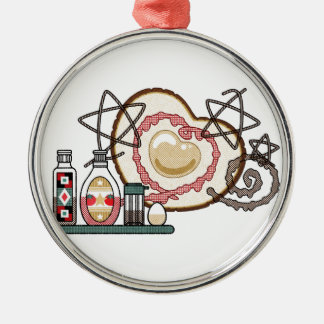 The eyeball it burns, (Fried egg) Silver-Colored Round Ornament