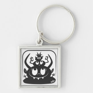 The Eyes Have It! Silver-Colored Square Keychain