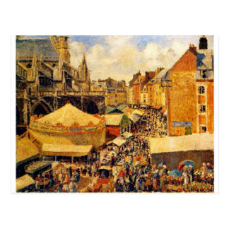The Fair in Dieppe, Sunny Morning by Camille Pissa Postcard