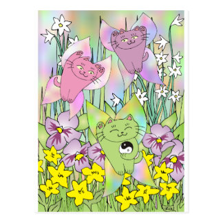 The Fairy Nekos of Spring Postcard
