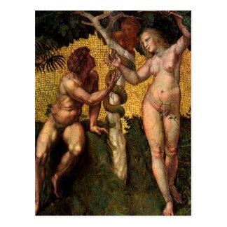 The Fall - Adam and Eve by Raphael Sanzio Postcard
