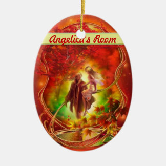 The fall fairy and prince Door hanger / room Ceramic Ornament