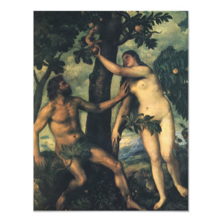 "The Fall of Man; Adam and Eve by Titian 4.25"" X 5.5"" Invitation Card"