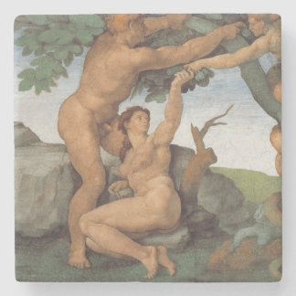 The Fall of Man  by Michelangelo stone coaster