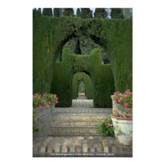 The famed gardens of the Alhambra, Granada, Spain Poster