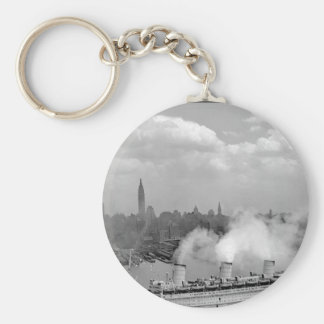 The famous British liner, QUEEN MARY_War Image Basic Round Button Keychain