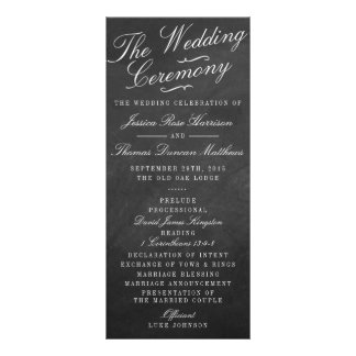 The Fancy Chalkboard Wedding Collection Programs Rack Card Template