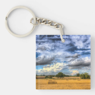The farm in the summertime keychains
