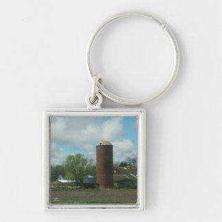 The Farm Silver-Colored Square Keychain
