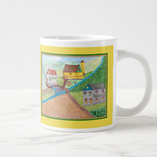 The Farmyard with the old Spring House Large Coffee Mug
