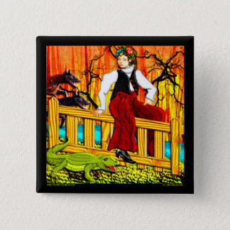 The Fence Sitter (pin) 2 Inch Square Button