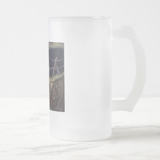 The fence which is broken frosted glass beer mug