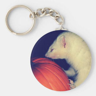The Ferret and The Pumpkin Basic Round Button Keychain