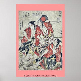 The fifth month by Katsushika, Hokusai Ukiyoe Poster