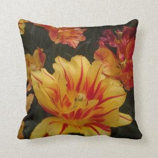 The fire colour flower throw pillow
