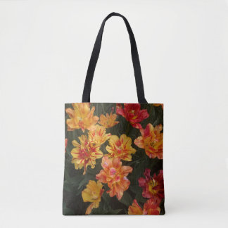 The fire colour flower tote bag