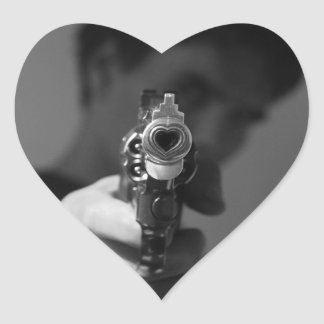 the firearm of the love which kills heart sticker