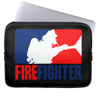 The Firefighter Vibrant Red and Blue Laptop Sleeve