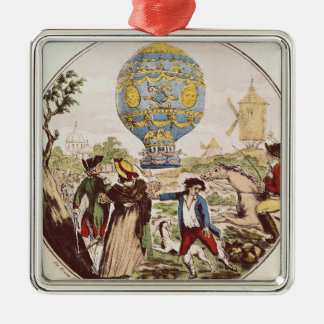 The First Aerial Voyage by Monsieur Francois Silver-Colored Square Ornament