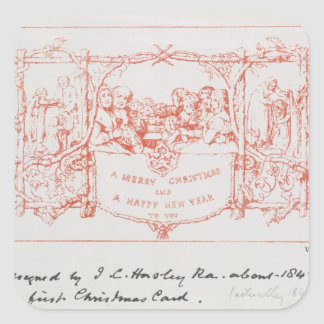 The first Christmas card, by J.C.Horsley, 1843 Square Sticker