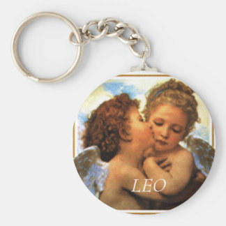 the first kiss angels cherubs, LEO - Customized Basic Round Button Keychain