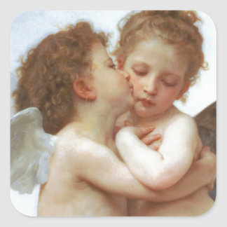 THE FIRST KISS, C.1873 William Bourgeau Square Sticker