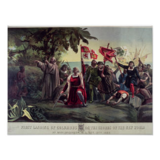 The First Landing of Columbus Poster