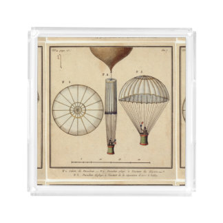 the first parachute by Jacques Garnerin Acrylic Tray