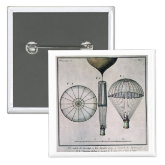 The First Parachute Descent by Andre-Jacques Garne 2 Inch Square Button