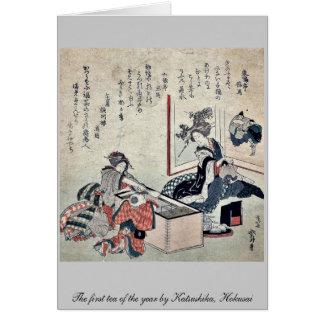 The first tea of the year by Katsushika, Hokusai Card